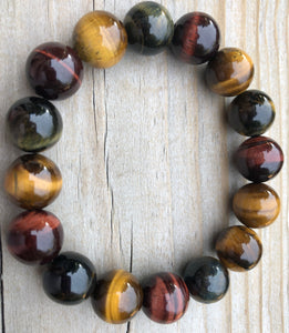 14mm Muti Tiger's Eye Gemstone Bracelet