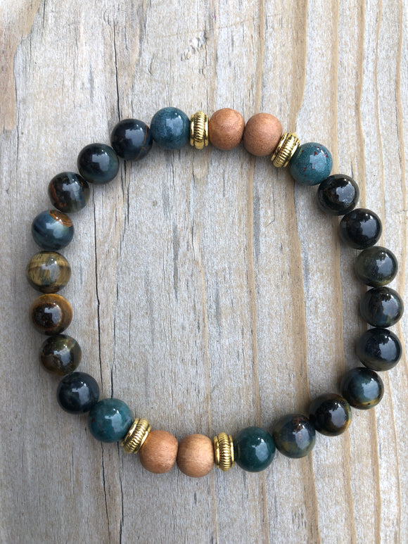 Blue Tiger's Eye, Moss Agate & Sandalwood Gemstone Bracelet