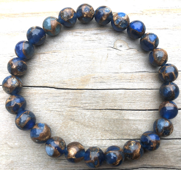 Mini Dark Blue Suspended Copper Agate Gemstone Bracelet