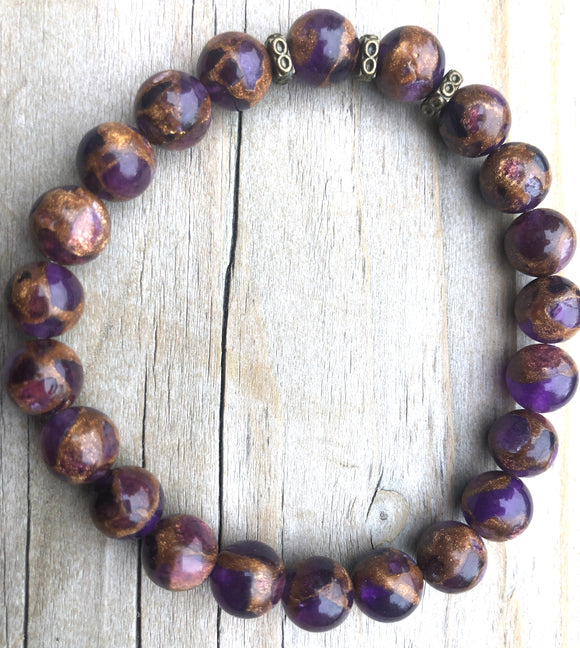Mini Purple Suspended Copper Agate Gemstone Bracelet