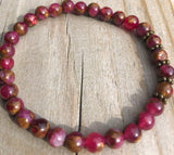 Mini Red Suspended Copper Agate Gemstone Bracelet