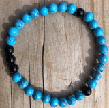 Mini Onyx & Blue Howlite Gemstone Bracelet