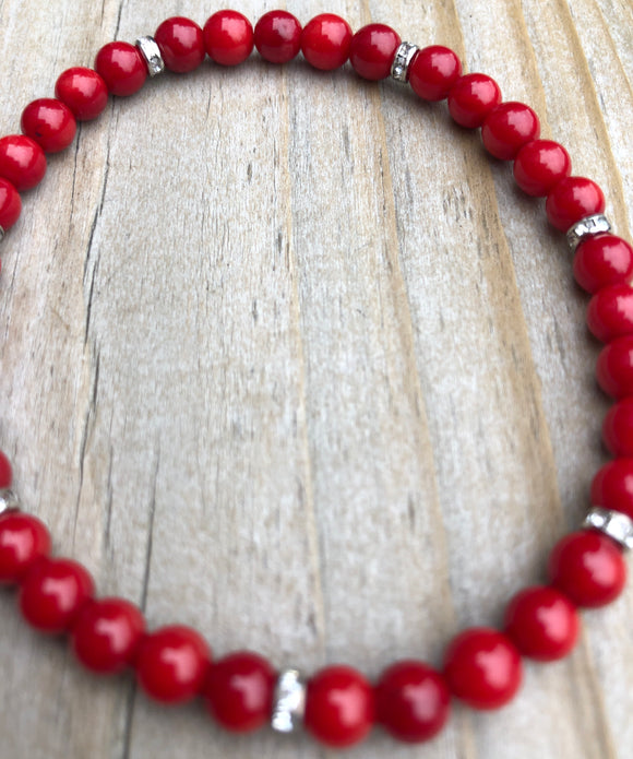Mini Red Sea Coral Bamboo Gemstone Bracelet