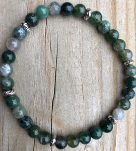 Mini Moss Agate Gemstone Bracelet