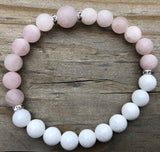 Rose Quartz & White Jade Gemstone Bracelet