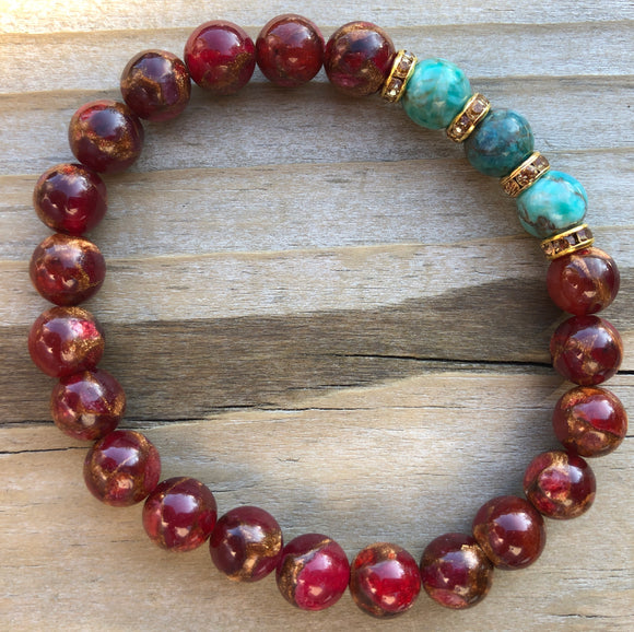 Red Suspended Copper Agate & African Howlite Gemstone Bracelet