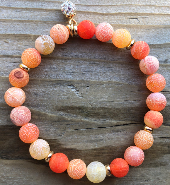 Orange Efflorescence Agate Gemstone Bracelet