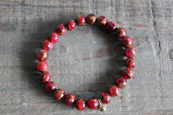 Red Suspended Copper Agate Gemstone Bracelet