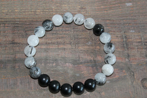 Tourmalinated Quartz & Onyx Gemstone Bracelet