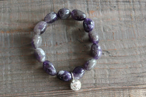 12mm Amethyst Gemstone Bracelet