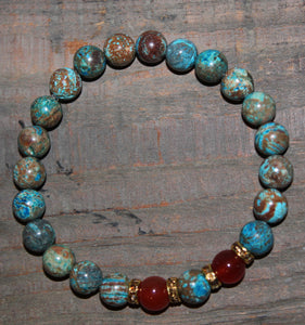 Decorative Agate & Carnelian Gemstone Bracelet