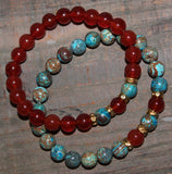 Carnelian & Decorative Agate Gemstone Bracelet