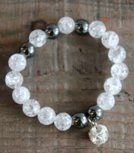Crackled Quartz & Hematite Gemstone Bracelet