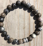 Zebra Jasper & Petrified Wood Gemstone Bracelet