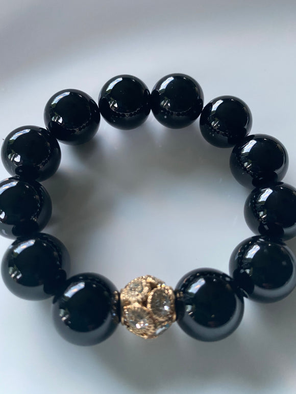 16mm Onyx Gemstone Bracelet