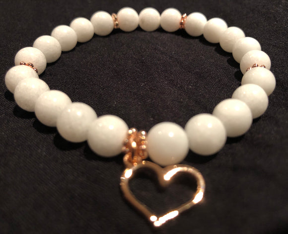 White Jade Heart Gemstone Bracelet