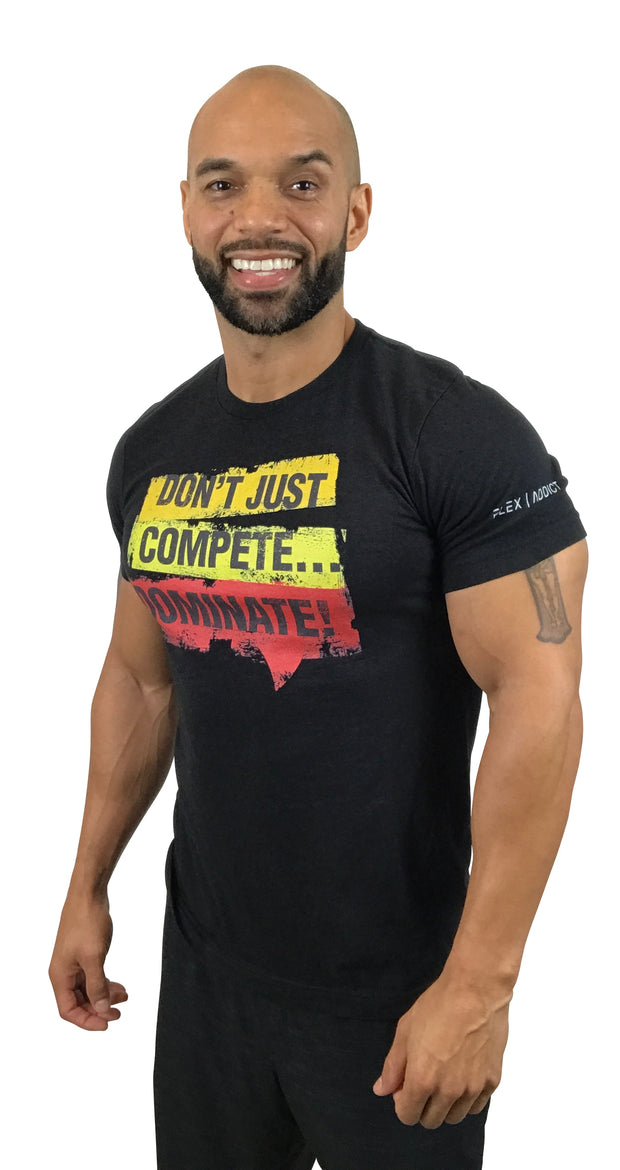 Don't Just Compete: Fitted Black Heather T-Shirt