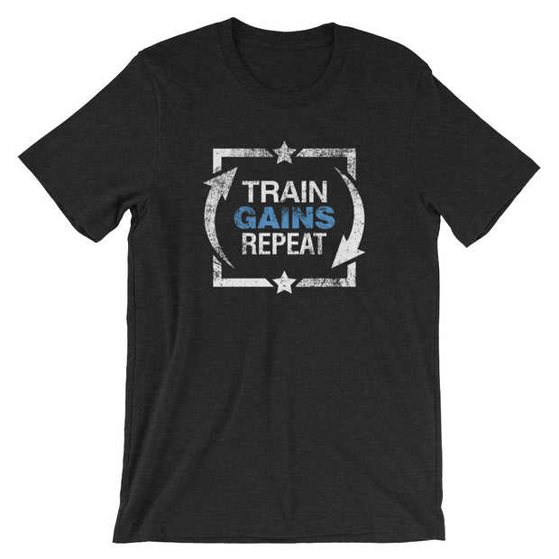 TRAIN, GAINS, REPEAT: Fitted Black Heather T-Shirt