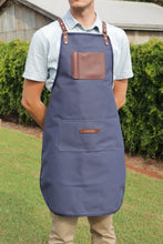 Load image into Gallery viewer, Apron - Navy and Dark Brown
