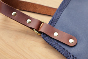 Apron - Navy and Dark Brown