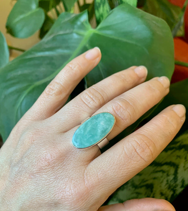 Amazonite and sterling silver ring on hand in front of plant.