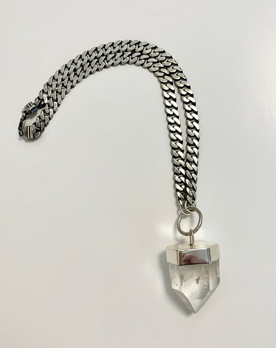 Clear quartz crystal talisman necklace with sterling silver setting and large sterling silver chain.