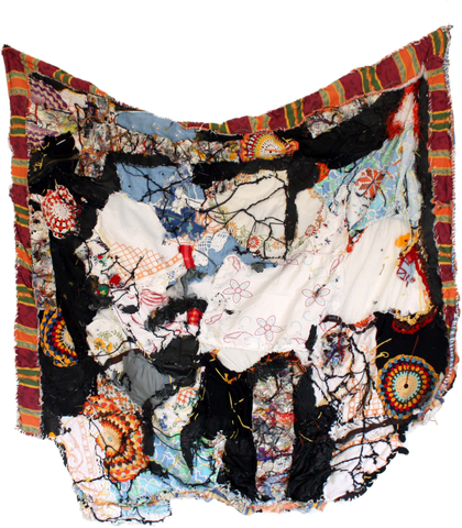 Fragilités series of works on fabric by Burkinabé artist Hyacinthe Ouattara