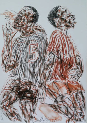 Salifou Lindou's drawing of football players