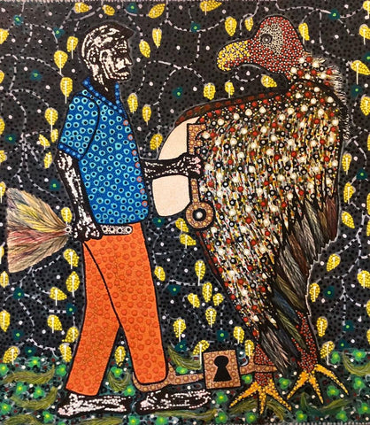 Ousmane Niang's pointillist painting of a bird and a man