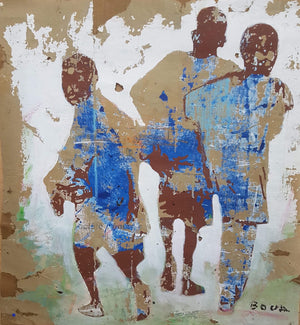 110x100cm acrylic and tar on cardboard by Armand Boua contemporary Ivorian artist from Abidjan. Painting depicting faces of Abidjan street kids.