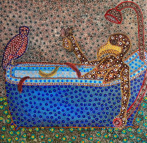Baignoire, 2021, 140x140cm, acrylic on canvas by Ousmane Niang young Senegalese contemporary artist.