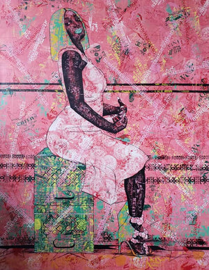 Invisible fears, 140x110cm. Acrylic on canvas by Anjel (Boris Anje). Contemporary artist born in 1993 in Cameroon. For sale online on Afikaris.