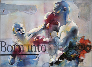 Born into violence. 50x70cm. Watercolor painting and collage on paper. By Bruce Clarke, contemporary artist from South Africa. Artwork for sale online.
