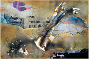 Victimas. 50x70cm. Watercolor painting and collage on paper. By Bruce Clarke, contemporary artist from South Africa. Artwork for sale online.
