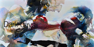 Dark days. 60x120cm. Acrylic and collage on canvas. By Bruce Clarke, contemporary artist from South Africa. Artwork for sale online.