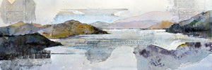 Landscape after the massacre (Lake Kivu). 38x73cm. Watercolor painting and collage on paper. By Bruce Clarke, contemporary artist from South Africa. Artwork for sale online.