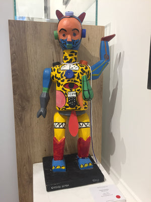Gygy, 62cm. Wood and recycled objects sculpture by Camara Demba. Contemporary sculptor from Ivory Coast living in Abidjan.