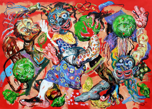 Les enfants aux choux, acrylic on canvas, 135x200cm. By Cristiano Mangovo contemporary artist from Angola. For sale.