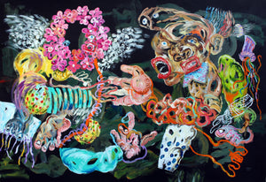 Meeting the happiness, acrylic on canvas, 135x200cm. By Cristiano Mangovo contemporary artist from Angola. For sale.