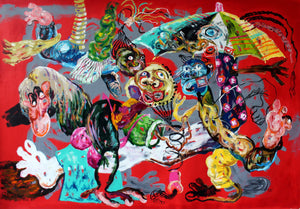 You are welcome, acrylic on canvas, 135x200cm. By Cristiano Mangovo contemporary artist from Angola. For sale.
