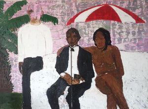 Dream without meaning, 152x203cm, Acrylic, wax on canvas by Gideon Appah contemporary artist from Ghana, living in Accra.