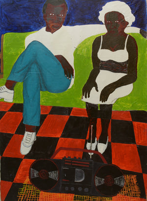 Lovers on a green couch, 175x127cm, Acrylic on canvas by Gideon Appah contemporary artist from Ghana, living in Accra.