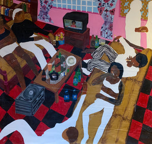 Ekumfi house party, 220x236cm, Acrylic on canvas by Gideon Appah contemporary artist from Ghana, living in Accra.