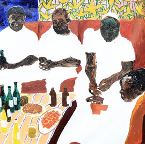 Emmere papa, 133x137cm, Acrylic, wax on canvas by Gideon Appah contemporary artist from Ghana, living in Accra.