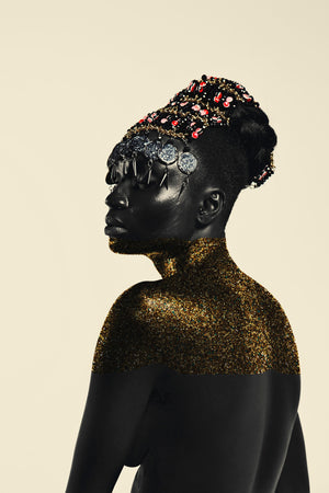 "Gold is forever her colour by Asiko. Nigerian photographer born in London. Two sizes available 50x33cm and 100x66cm, metallic printing. Artwork for sale on Afikaris. From ""Adorned"" series."