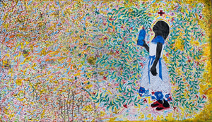 La poésie du lien, 150x255cm, Watercolor painting, ink and felt pen on paper. By Hyacinthe Ouattara and Saïdou Dicko, contemporary artists from Burkina Faso.