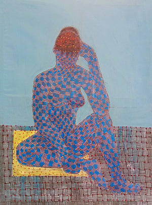 Untitled #2, 120x80cm, acrylic and textile on canvas, by Ibrahim Ballo young Malian contemporary artist.