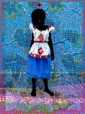 The princess of Swallows ACT1 T Oiseaux RED. Hand-painted (unique) photography, from The shadowed people series. By Saidou Dicko, a contemporary artist from Burkina Faso.