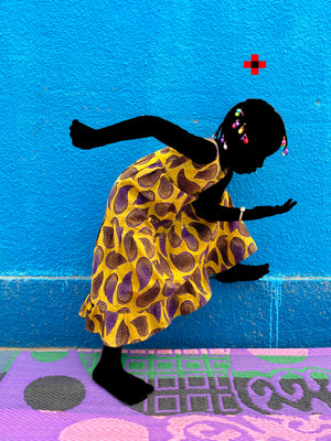 The Yellow Princess ACT 2. Hand painted (unique) photography, from The shadowed people series. By Saidou Dicko, contemporary artist from Burkina Faso.