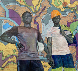 "#creuseur/chantier45@outlook.com, 185x205cm, ink, acrylic and posca on canvas by Jean David Nkot young Cameroonian contemporary artist. From ""Les creuseurs de sous-sol"" series."
